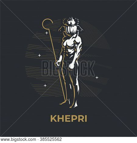 Egyptian God Khepri. A Man With A Scarab Beetle Head. Scarab Beetle. Insect. Ankh. Vector Illustrati
