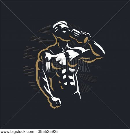Fitness Man With Muscles With A Sports Bottle, Drinks. Vector Illustration.