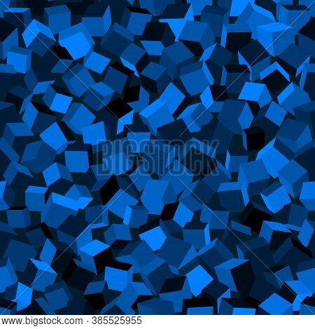 Abstract Image Of Azure Cubes Background. Seamless Pattern Vector Illustration