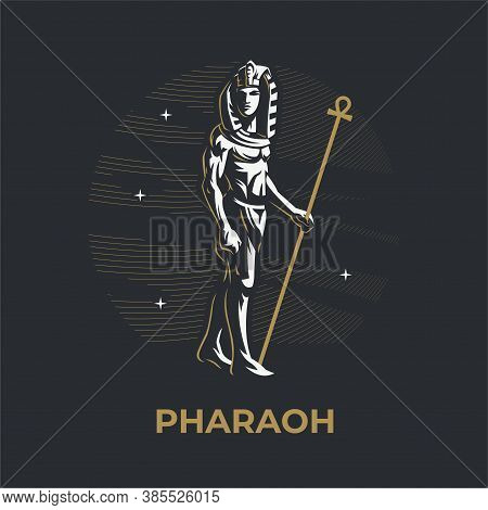 Egyptian King. Pharaoh With A Staff. Vector Illustration.