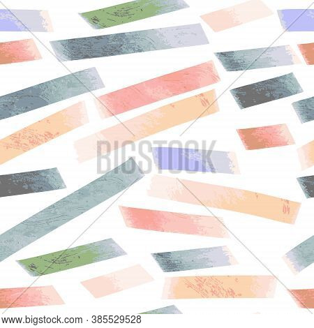 Seamless Vector Pattern With Colourful Bold Textured Isolated Lines In A Chaotic Manner. Vector Illu