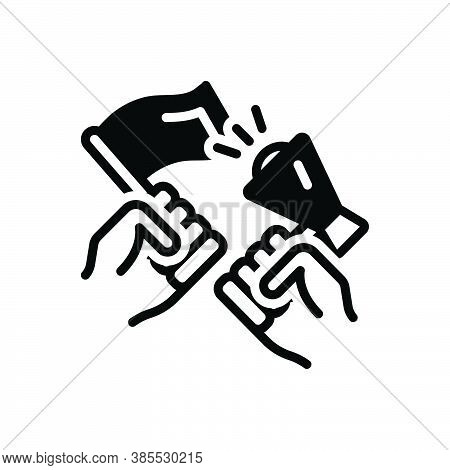 Black Solid Icon For Activist Militant Protester Radical Powerbroker Strike Hand Against