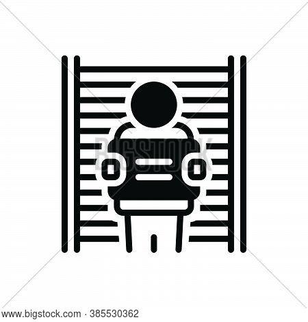 Black Solid Icon For Defendant Respondent Jail Appellant Litigant Suspect Prisoner
