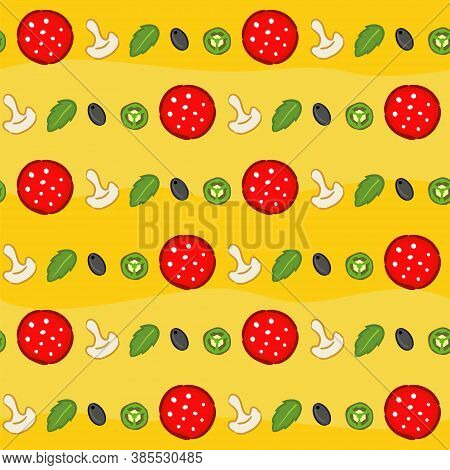 Seamless Pizza Pattern. Bright And Juicy Yellow Background With Pizza Ingredients: Salami, Mint, Jal