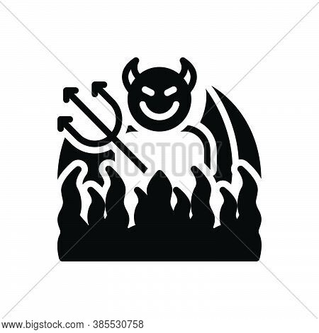 Black Solid Icon For Hell Inferno Abaddon Gehenna Devil Stick Wings Bad Halloween
