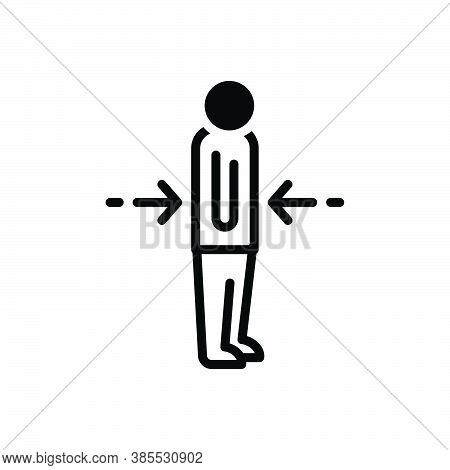 Black Solid Icon For Lean Lanky Thin Weakly Lank Spindly Svelte Feeble Slant