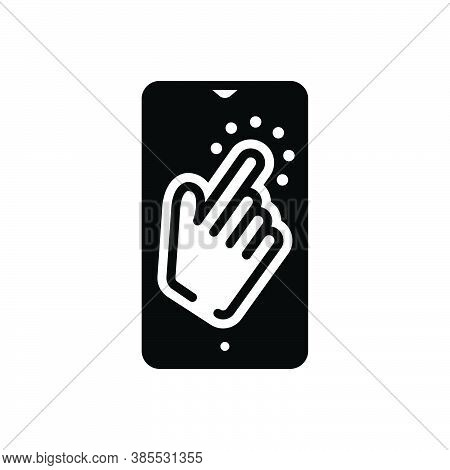 Black Solid Icon For Once Tap Gesture Touch Once-time A-single-time Indicate Index Mobile