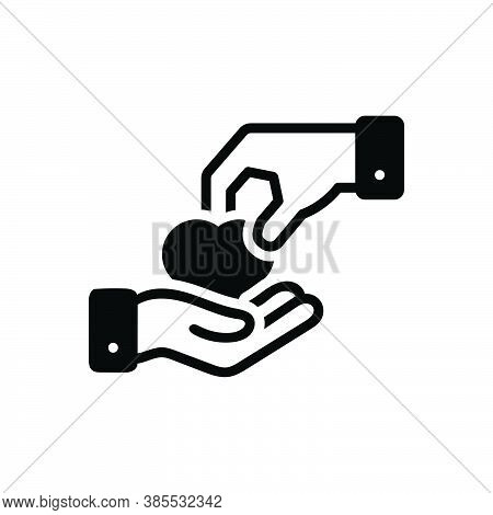 Black Solid Icon For Give Take Donate Charity Heart Love Entrust Cede Assign Hand-over