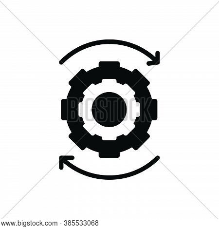Black Solid Icon For Ongoing Proceeding Continuing In-progress Under-way Cogwheel Machinery Efficien