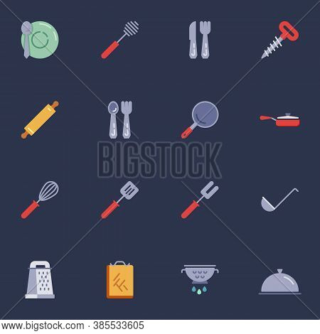Kitchenware Elements Collection, Kitchen Utensils Flat Icons Set, Colorful Symbols Pack Contains - C