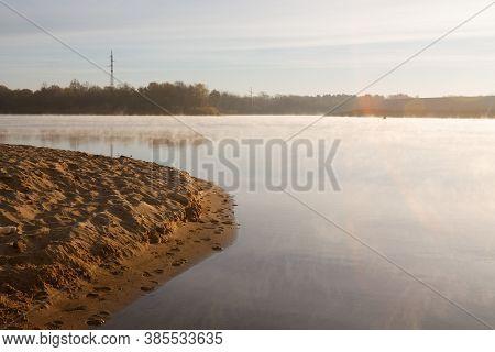 Sunset River Horizon Sky Clouds. River Sunset Landscape. Sunset River View. Sunset River Panorama