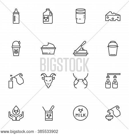 Dairy Product Line Icons Set, Outline Vector Symbol Collection, Linear Style Pictogram Pack. Signs,