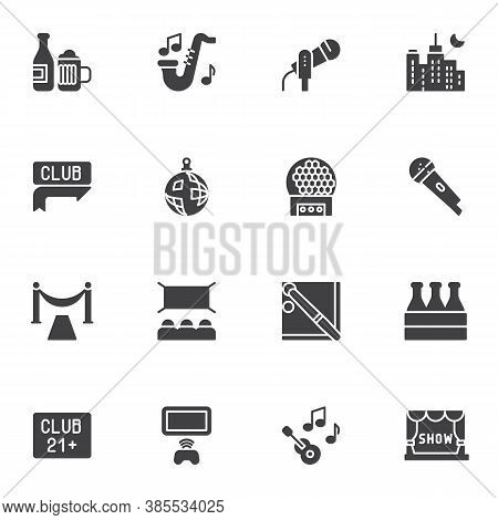 Nightlife Vector Icons Set, Party Related Modern Solid Symbol Collection, Filled Style Pictogram Pac