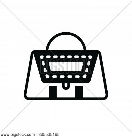 Black Solid Icon For Leather Purse Handbag Accessory Elegance Stylish Woman Costly Buff Pelt Membran