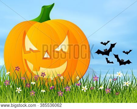 Halloween Pumpkin Face On The Grass Next To Flying Bats By Beautiful Day - 3d Render