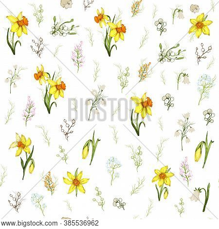 Seamless Pattern Of Yellow Flowers Close-up. Primroses Flowers In The Style Of Realism (doodling). M