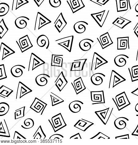 Seamless Pattern With Swirls In Doodle Stile.free Hand Black And Wite Vector Background.