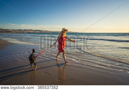 Happy Attractive Mature Woman With Her Pet Walking On Friendly Dog Beach At Sunset