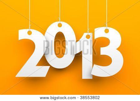 White tags mit 2013 auf orange Hintergrund