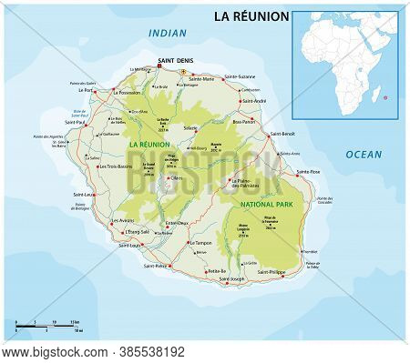 La Reunion Vector Road And National Park Map
