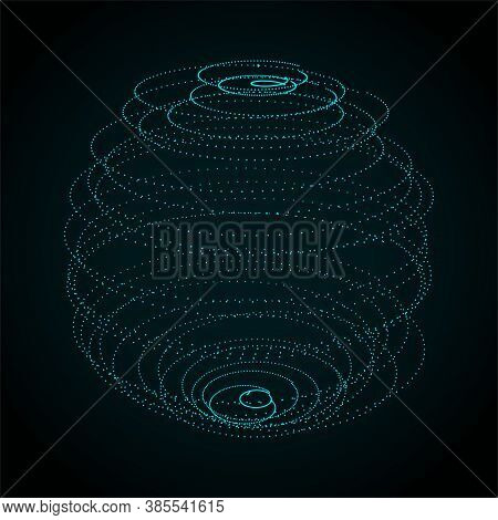 Abstract Sphere Of Dots On Dark Background. Partial Particles. Abstract Noisy Pulsating Sphere. 3d R