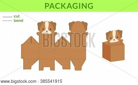 Adorable Diy Party Favor Box For Birthdays, Baby Showers With Cute Dog For Sweets, Candies, Small Pr