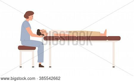 Female Massagist Or Osteopath Massaging Neck Area To Male Client Vector Flat Illustration. Woman Doc
