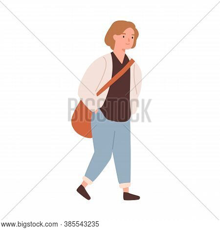 Cute Pupil Girl With Bag Going To Elementary School Vector Flat Illustration. Smiling Schoolgirl Wit
