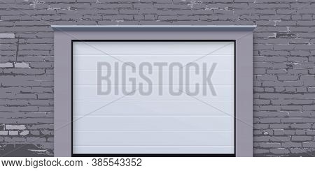 Modern Garage House Door. Realistic Entrance Gate To Rooms, Home, Store, Shop, Parking Space Or Ware