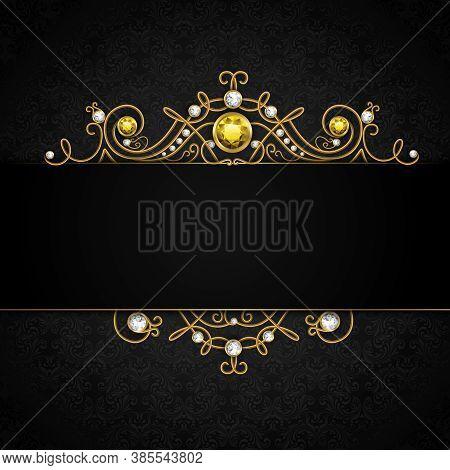 Jewellery Black Background With Unique Classic Vintage Golden Diamond Gems Tiara Vector Illustration