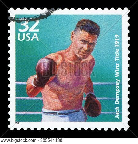 United States Of America - Circa 1998: A Postage Stamp Printed In Usa Showing An Image Of Boxer Jack