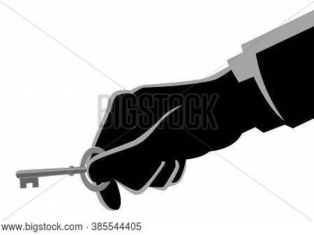 Business Concept Illustration Of A Businessman Hand Holding A Key