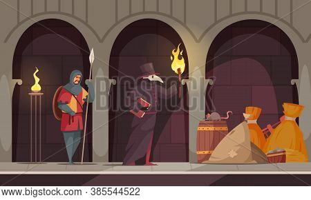 Medieval People Plague Healer Composition With Two People In The Corridors Of A Medieval Castle Vect