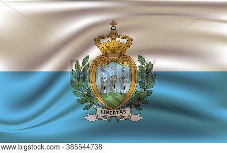 Flag Of San Marino Waving. National San Marino Flag For Independence Day. Vector Eps10
