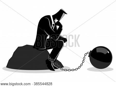 Business Concept Illustration Of A Chained Businessman