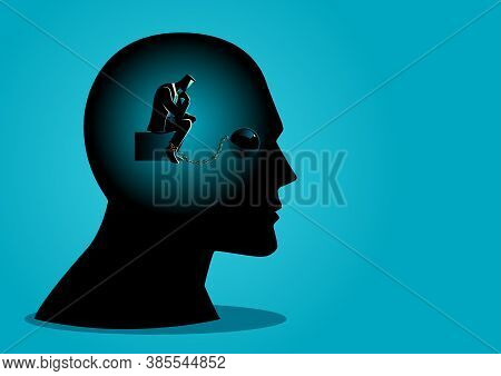 Business Concept Vector Illustration Of A Businessman In Human Head Being Chained, Tied Up Thinking,