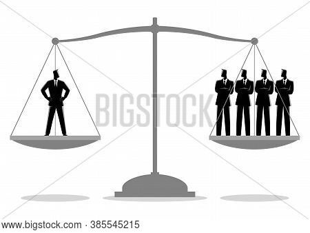 Business Concept Illustration Of A Businessman Equal As Four Businessmen, Efficiency Concept