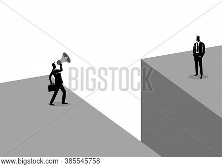 Business Concept Illustration Of A Businessman Shouting To Another Businessman With Megaphone Near T