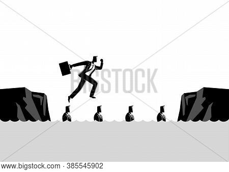 Business Concept Illustration Of A Businessman Using His Friends As Stepping Stones