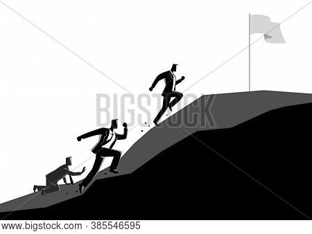 Business Concept Illustration Of Businessmen Racing Uphill To Seize The Flag, Competition Concept