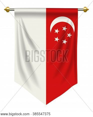 Singapore Flag Or Pennant Isolated On White