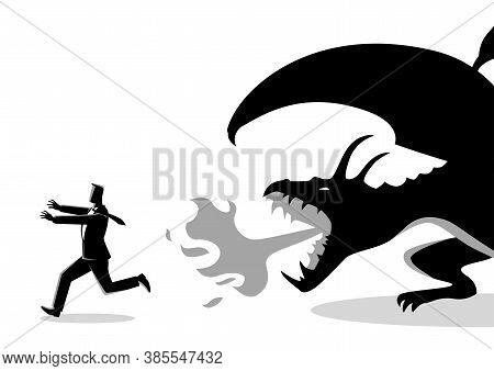 Business Concept Vector Illustration Of A Businessman Running Away From A Dragon. Risk, Fear Of Chal