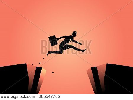Silhouette Illustration Of A Businesswoman Jumps Over The Ravine. Challenge, Obstacle, Optimism, Det