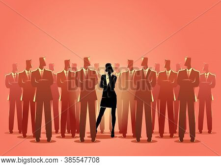 Business Concept Vector Illustration Of A Businesswoman Standing Among Businessmen. Living In A Man'