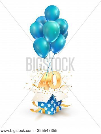 40th Years Celebrations. Greetings Of Forty Anniversary Isolated Vector Design Elements. Open Textur