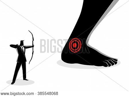 Business Concept Vector Illustration Of Businessman As An Archer Aiming Giant Feet's Heel, Idiom For