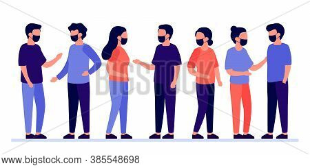 Meeting Of Group Of People With Mask For Communication, Partnership, Business Relationship. Man And