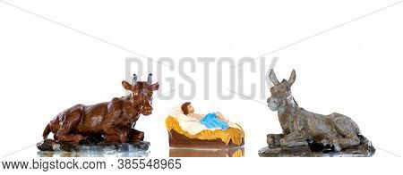 The Baby Jesus in the manger with the ox and the mule, isolated on white background