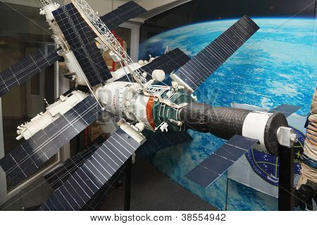 STAR TOWN - FEBRUARY 4: Model of Mir space station in Cosmonaut Training Center on February 4, 2012 in Star town near Moscow, Russia. Mir space station sunk in Pacific on March 23, 2001.