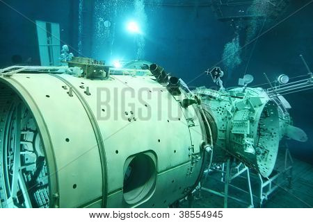 STAR TOWN - FEBRUARY 4: Underwater space simulator in Cosmonaut Training Center named of Gagarin on February 4, 2012 in Star town near Moscow, Russia. Center was established on January 11, 1960.